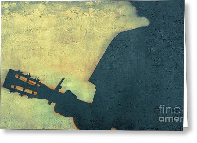 Shadow Back Capo Blues  Greeting Card by Steven Digman