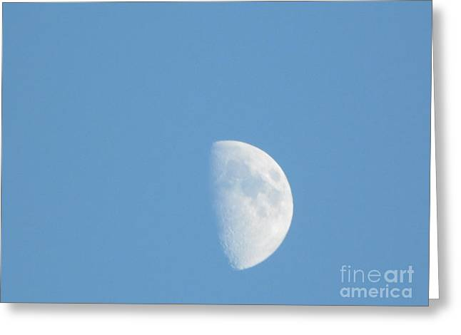 Shadow Moon Blue Greeting Card by Melissa Baker