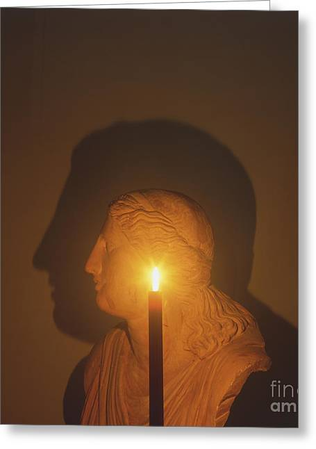 Shadow Of A Bust In Candle Light Greeting Card