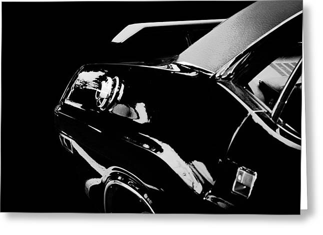 Black And White Greeting Card featuring the photograph Shadow Of American Muscle by Aaron Berg