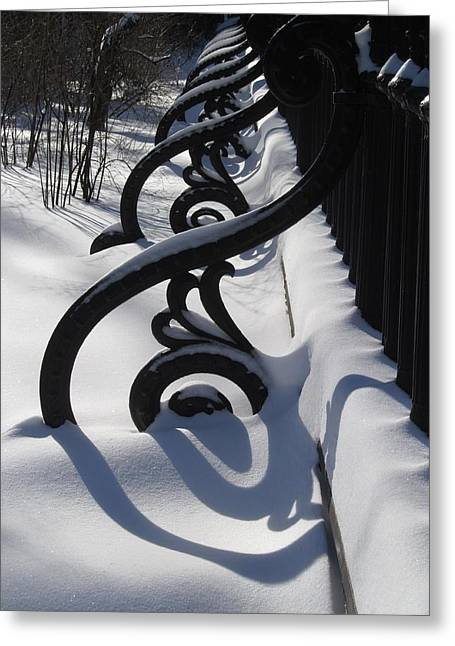 Shadow On Snow Greeting Card by Alfred Ng