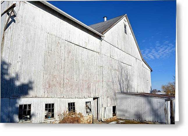 Shadow On White Barn Greeting Card