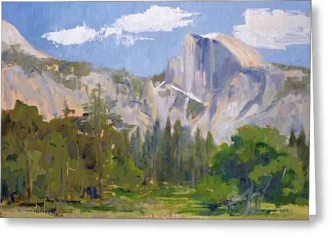 Shadow Over Half Dome Greeting Card by Sharon Weaver