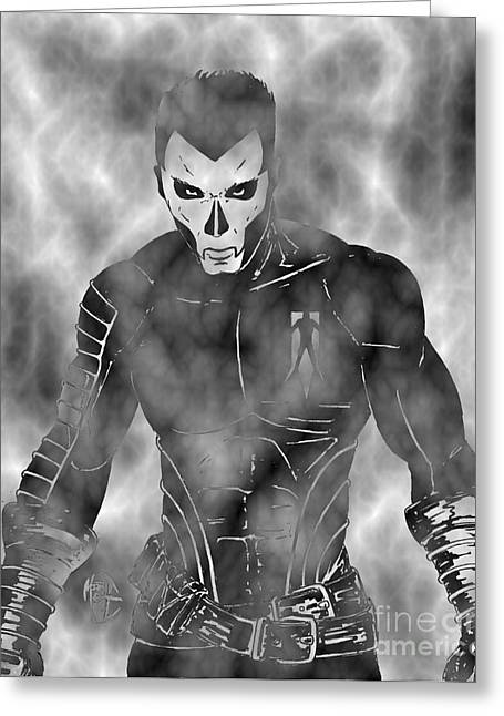 Shadowman In The Dead Grounds Greeting Card by Justin Moore