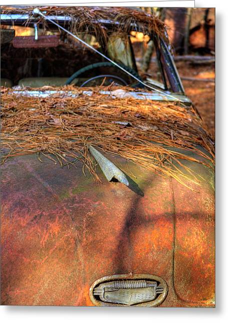 Shadows And Pine Straw On An Old Rusty Car Greeting Card by Greg Mimbs