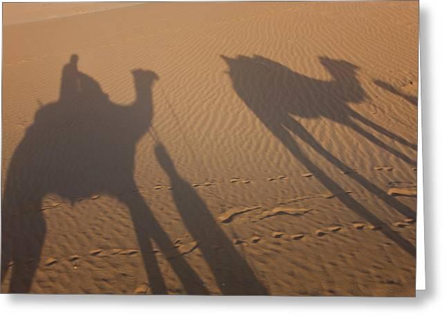 Shadows Of A Camel Train, Thar Desert Greeting Card by Peter Adams