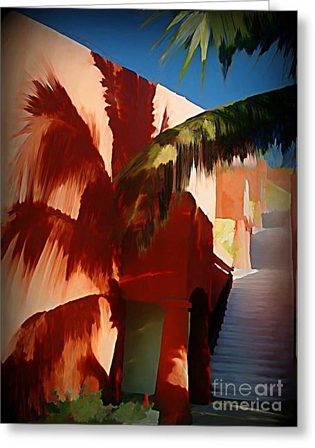 Shadows Of Palm Leaves Greeting Card by John Malone