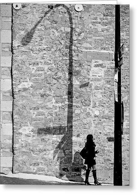Shadows On St-laurent Greeting Card by Valerie Rosen