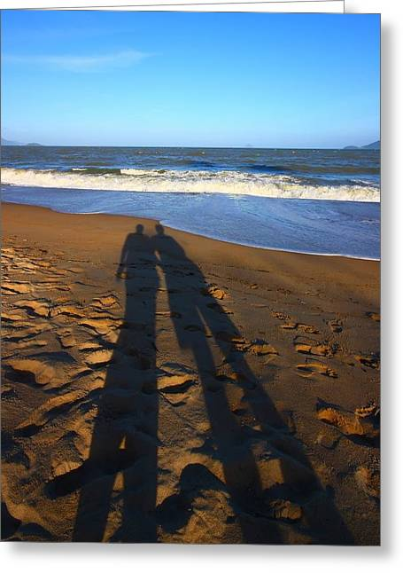 Shadows On The Beach Greeting Card by FireFlux Studios