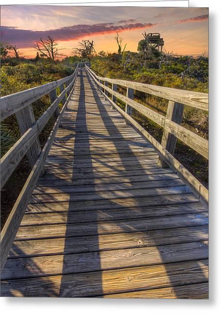 Shadows On The Boardwalk Greeting Card