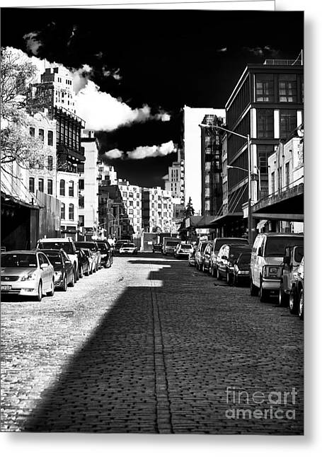 Shadows On The Street Greeting Card by John Rizzuto