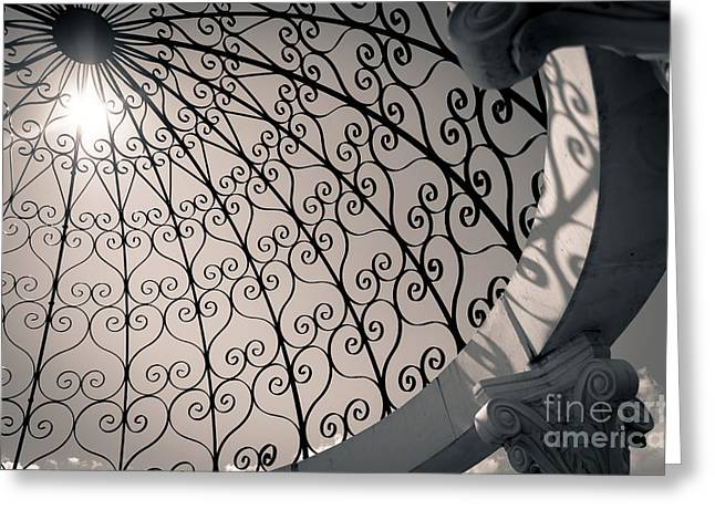 Greeting Card featuring the photograph Shadows Through The Gazebo by Mark David Zahn Photography
