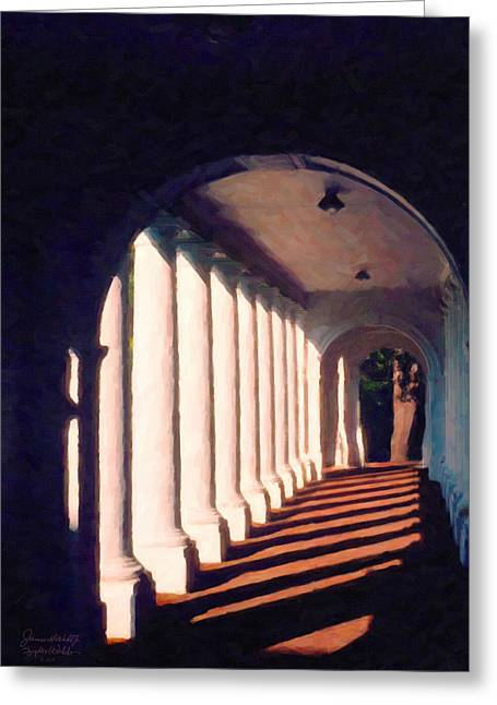 Shadows University Of Virginia Greeting Card by Spyder Webb