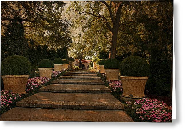 Shady Garden Walk Greeting Card by Cindy Rubin