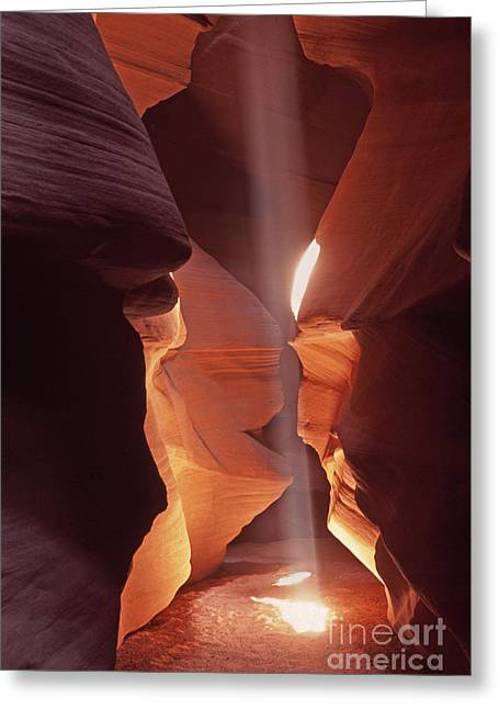 Shaft Of Light Antelope Canyon Greeting Card by Liz Leyden