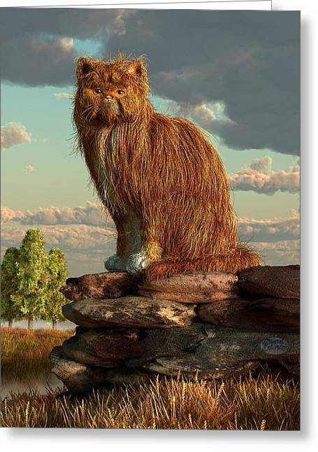 Shaggy Cat Greeting Card by Daniel Eskridge