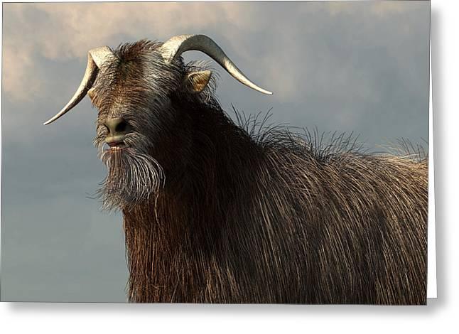 Shaggy Goat Closeup Greeting Card by Daniel Eskridge