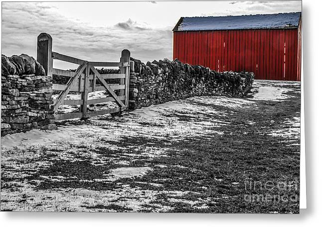Shakertown Red Barn - Sc Greeting Card by Mary Carol Story