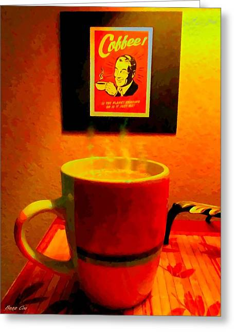 Shakey Planet Or Good Coffee Greeting Card by Buzz Coe
