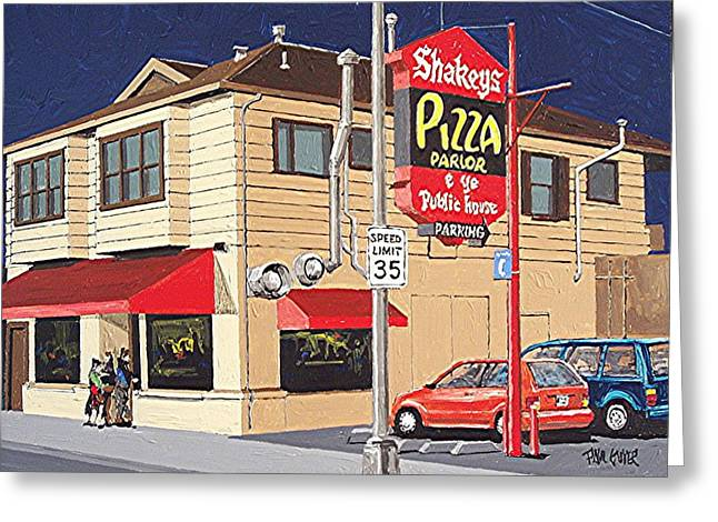 Shakey's Pizza Greeting Card by Paul Guyer