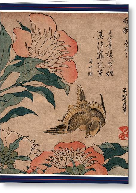 Shakuyaku Kana Ari, Peony And Canary. 1833 Or 1834 Greeting Card