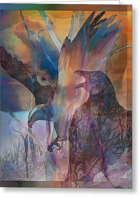 Greeting Card featuring the digital art Shaman's Friends by Ursula Freer