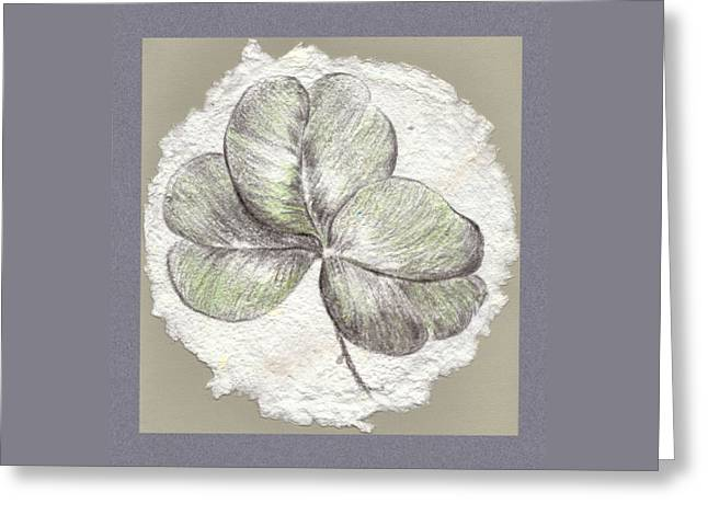 Shamrock On Handmade Paper Greeting Card