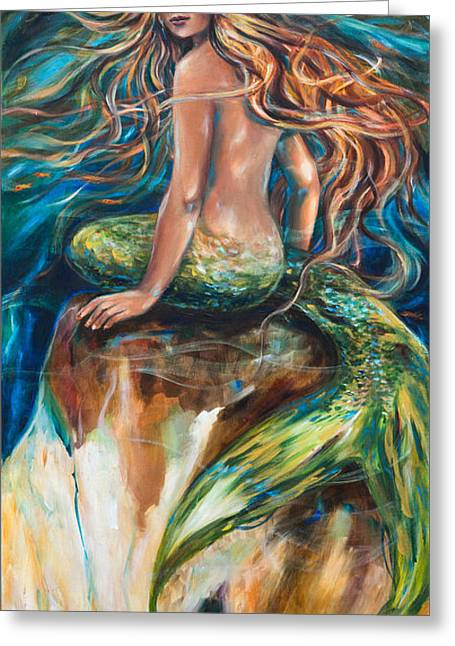 Greeting Card featuring the painting Shana The Mermaid by Linda Olsen