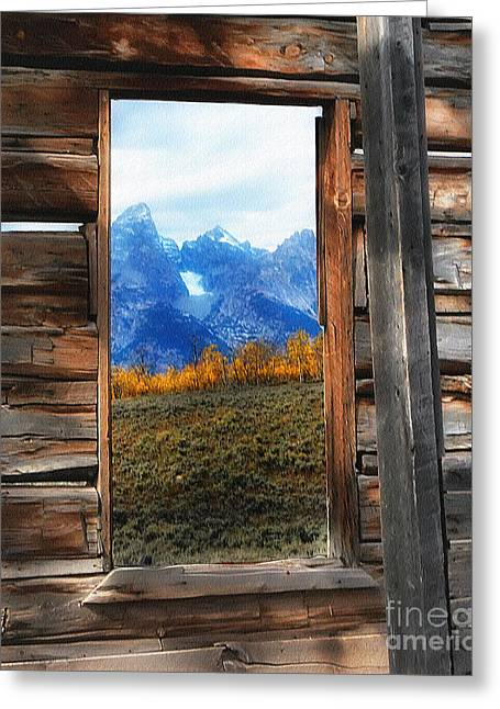 Shane Cabin Window  Greeting Card