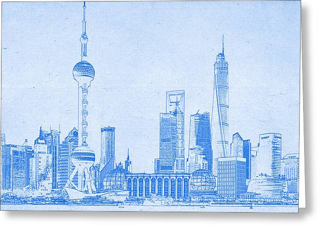 Shanghai Blueprint Greeting Card by Celestial Images