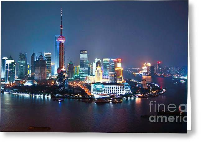 Shanghai Panorama Greeting Card by Delphimages Photo Creations
