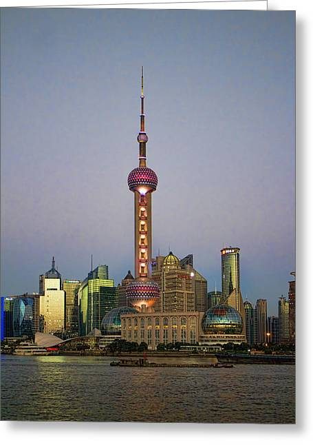 Shanghai Pearl Tower At Dusk Greeting Card by David Smith