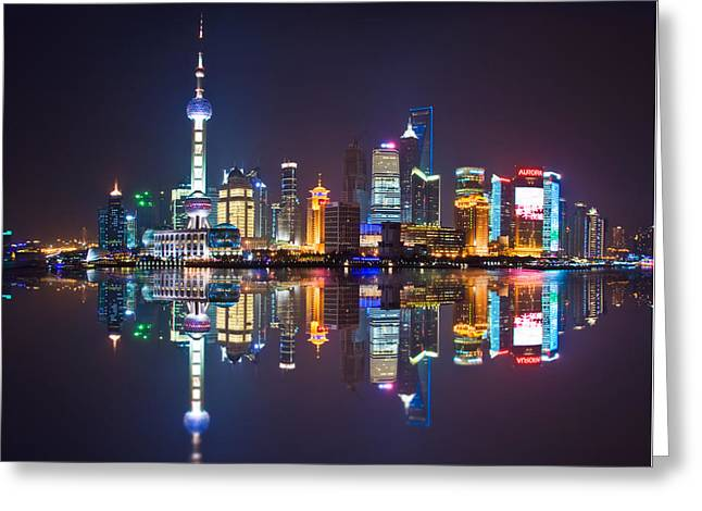 Shanghai Reflections Greeting Card by Delphimages Photo Creations