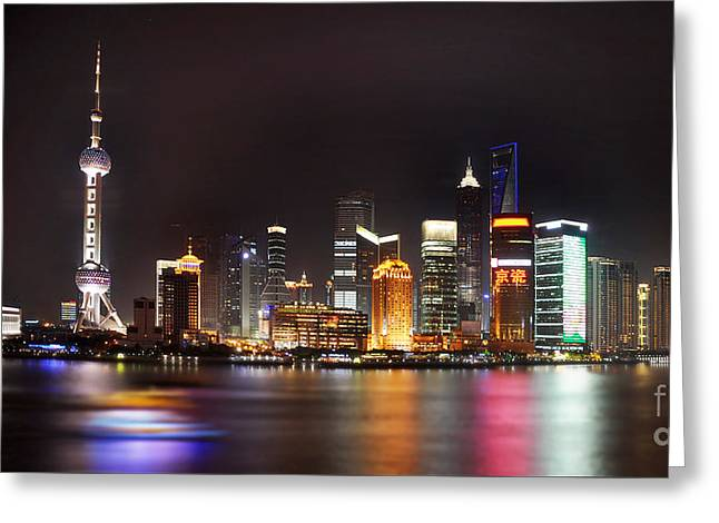 Shanghai Skyline At Night Greeting Card by Delphimages Photo Creations
