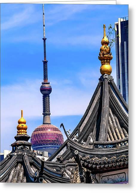 Shanghai Tv Tower From Yuyuan Garden Greeting Card