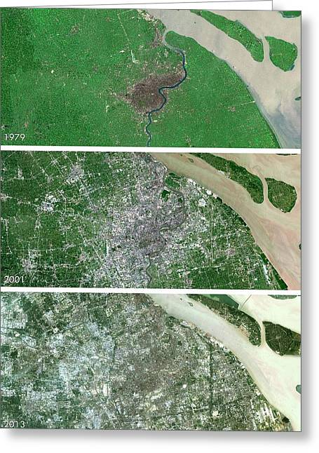 Shanghai Urban Spread Greeting Card by Planetobserver