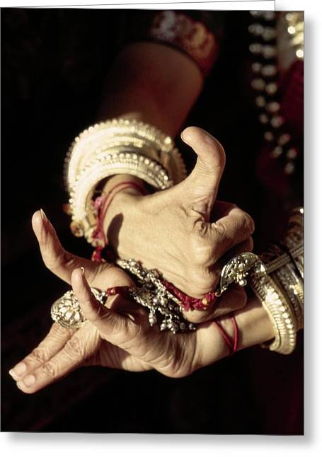 Shanta Rao's Hands Demonstrating Mudras Greeting Card