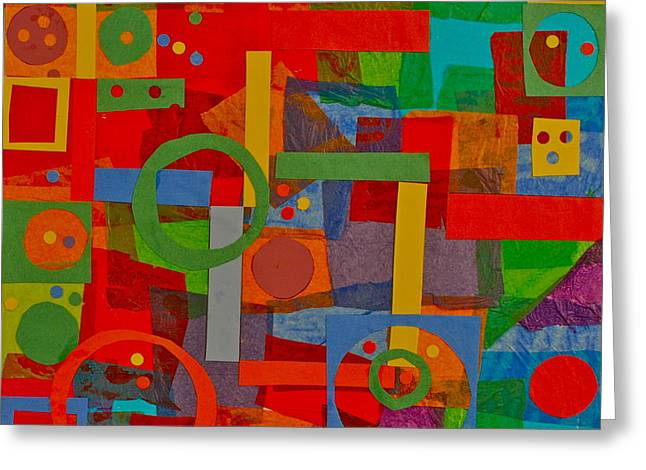Shapes In Hues In Motion Greeting Card by Patrick Beamish