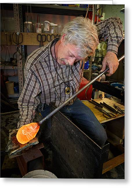 Shaping Molten Glass Greeting Card by Paul Indigo