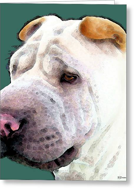 Shar Pei Art - Wrinkles Greeting Card by Sharon Cummings