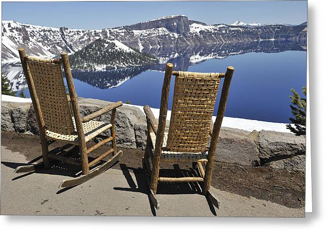 Share A Moment At Crater Lake Oregon Greeting Card by Clay and Gill Ross