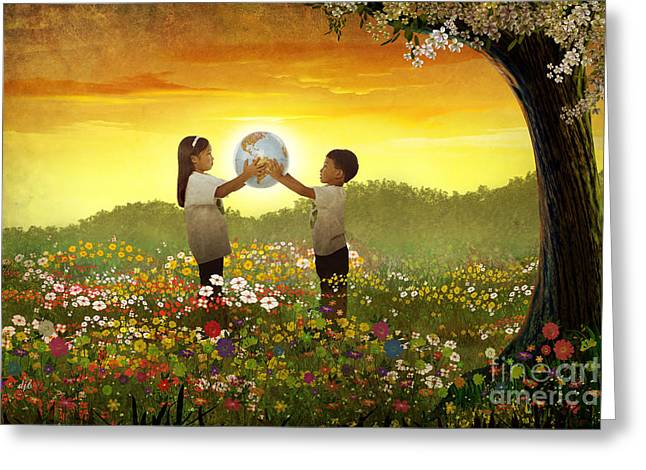 Share The World Greeting Card by Bedros Awak