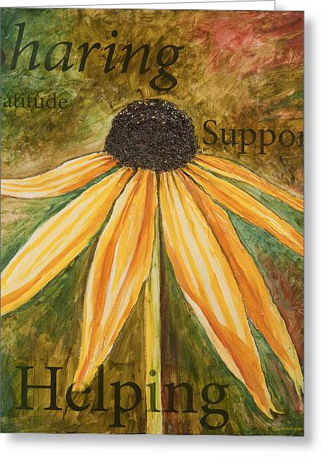 Greeting Card featuring the painting Sharing by Lisa Fiedler Jaworski