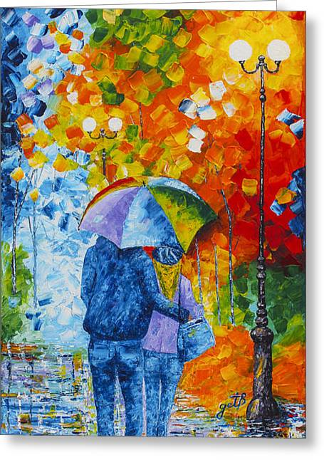 Sharing Love On A Rainy Evening Original Palette Knife Painting Greeting Card by Georgeta Blanaru