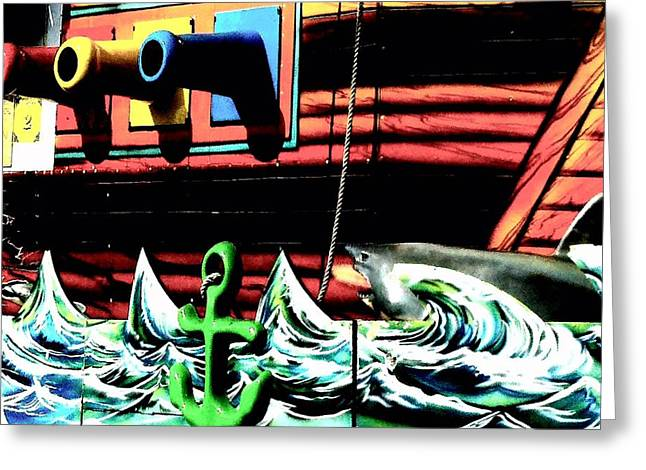 Shark And Pirate Ship Pop Art Posterized Photo Greeting Card by Marianne Dow