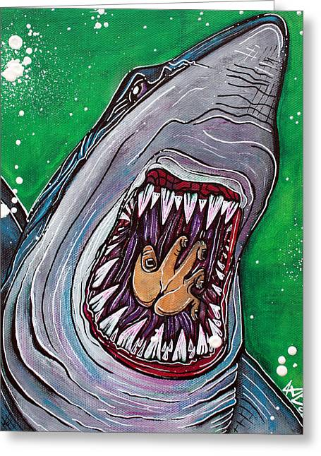 Shark Kill Zone Greeting Card by Laura Barbosa