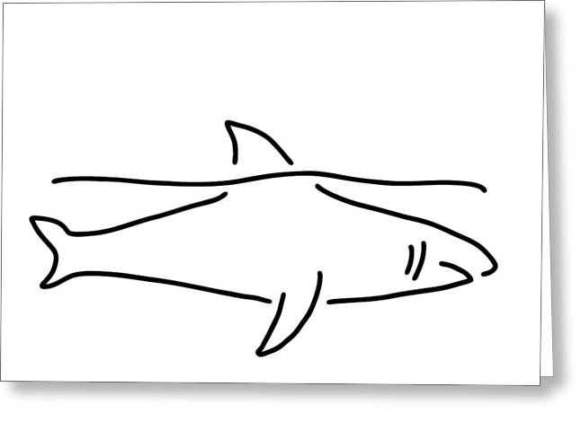Shark Shark Fish Fin Sea Greeting Card by Lineamentum
