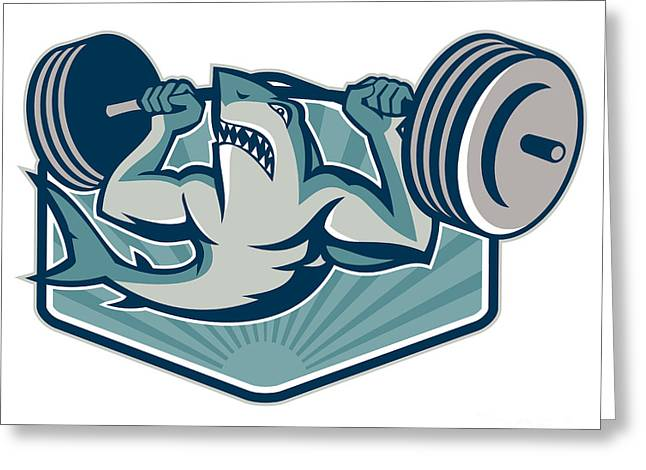 Shark Weightlifter Lifting Weights Mascot Greeting Card by Aloysius Patrimonio