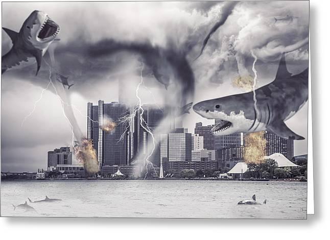 Greeting Card featuring the photograph Sharknado Detroit by Nicholas  Grunas