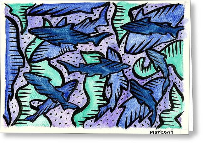 Sharkpac... Greeting Card by Marconi Calindas